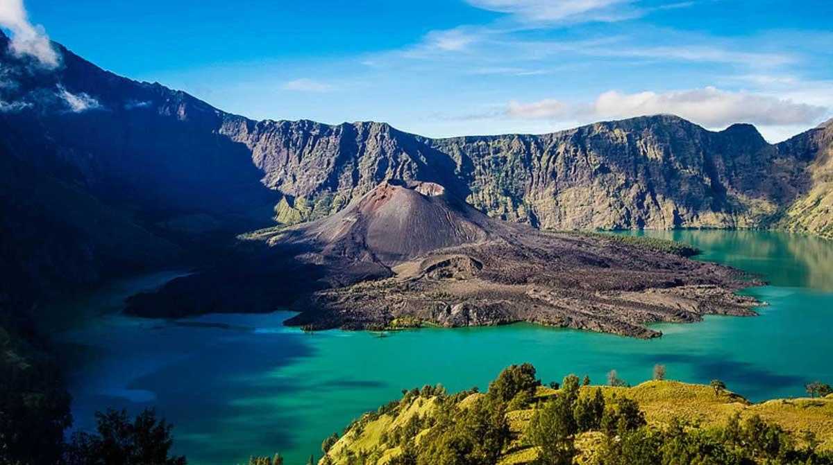 Mount Rinjani National Park in Lombok Island of Indonesia - Rinjani Eco Trekking and Geopark in Lombok Island - Gunung Rinjani Lombok.